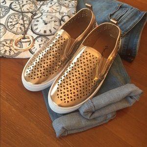 Qupid Rose Gold Slip-On Sneakers
